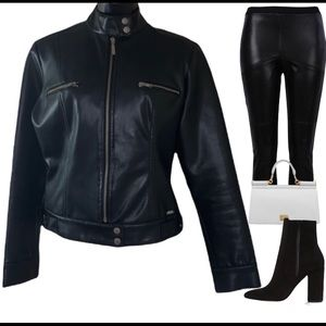 Guess black faux leather jacket size S